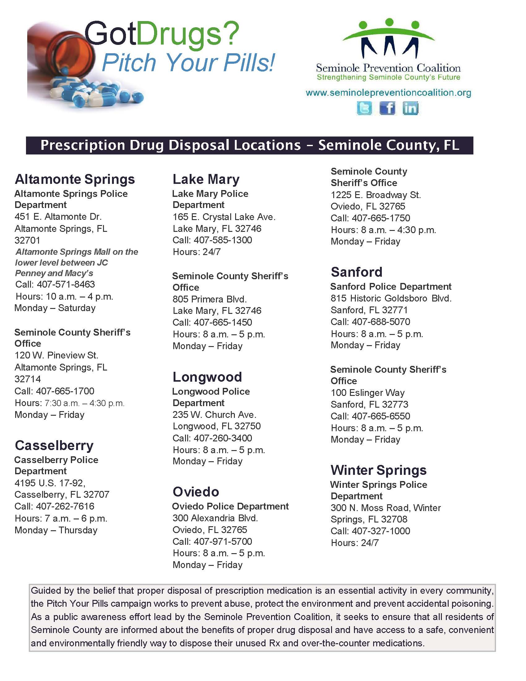 OC Drug Disposal Locations