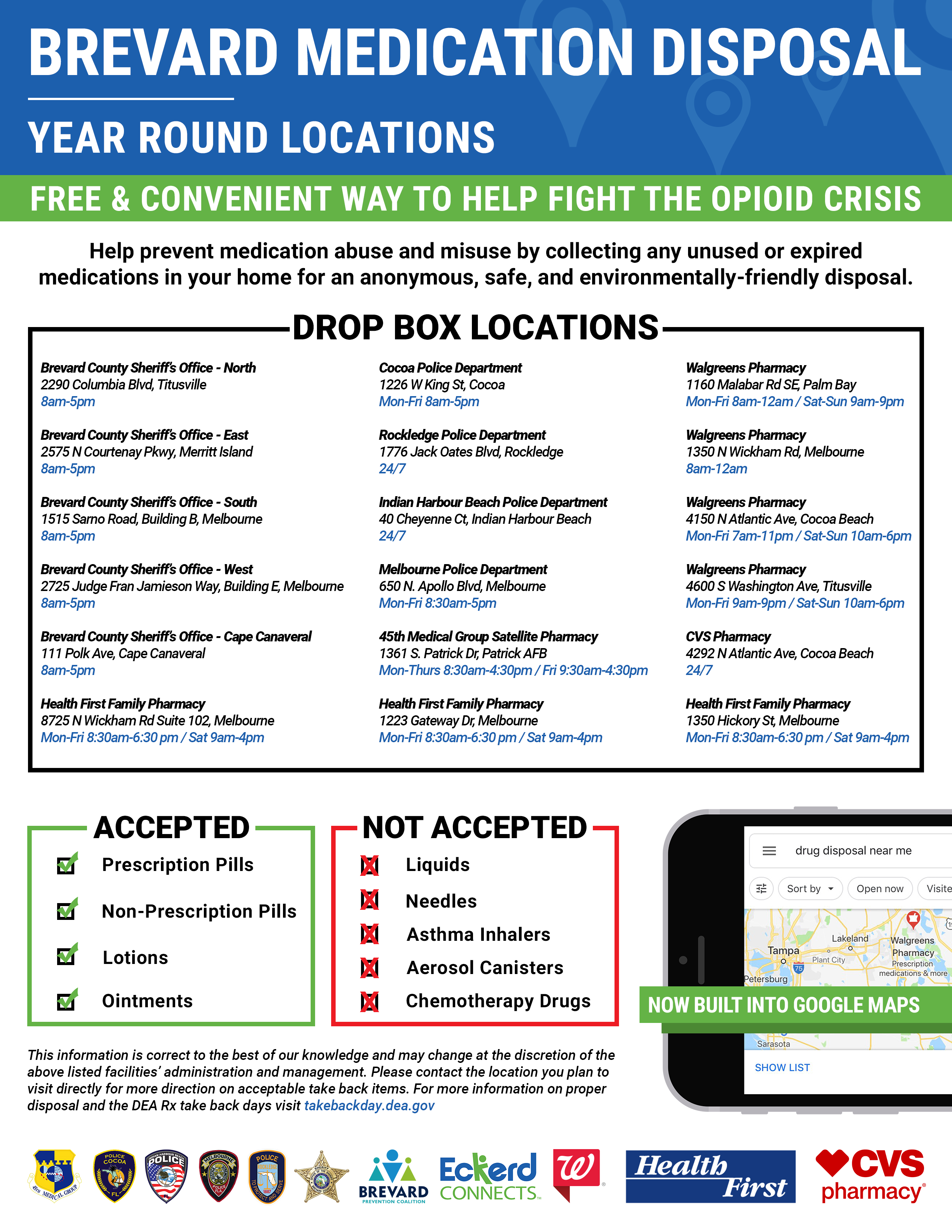 Brevard Drug Disposal Locations